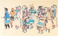 untitled (ceremonial dancers) by percy tsiste sandy