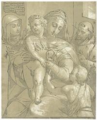 madonna mit dem kind und dem johannesknaben, begleitet von zwei heiligen (after jacopo ligozzi) by andrea andreani
