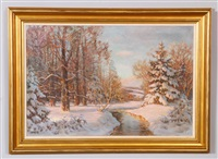 winter landscape with stream by paul lauritz
