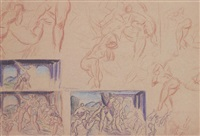 multiple sketches by lorser feitelson