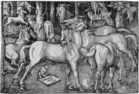 die sieben pferde (from vilerley herliche unnd kunstliche wolgerissene pferd...) by hans baldung grien