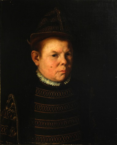 a portrait of a man, half-length, in a black and gold embroidered doublet by continental school (19)