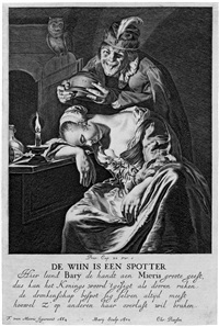 de wijn is een spotter - allegorie der trunksucht (after frans van mieris) by hendrik bary