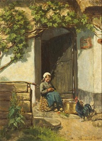 a young girl in a doorway by jan hendrik van de laar