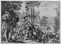 die hl. familie mit dem johannesknaben in einer landschaft by pietro anichini