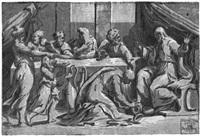 christus zu tisch bei simon, dem pharisäer (dem gerber) (after raphael) by andrea andreani