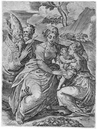 madonna mit kind und heiligen (after parmigianino) by battista angolo del moro