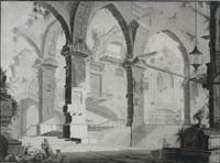 innenarchitektur einer antiken palastruine mit personenstaffage by franz langwider