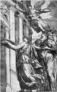 die vestalin tuccia beweist ihre keuschheit (after bernardino campi) by battista angolo del moro