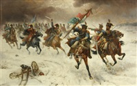 a cavalry skirmish in the snow by continental school
