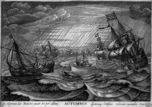 autumnus segelschiffe bei stürmischer see by robert willemsz de baudous