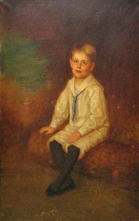 a portrait of a boy, full-length, seated in a landscape by otto von krumhaar