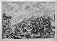 flußlandschaft mit einem dorf, rechts eine kirche (by johannes und lucas doetecum) by hans bol