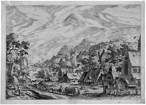 flußlandschaft mit einem dorf rechts eine kirche by johannes und lucas doetecum by hans bol