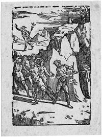 der alchemist, begleitet von vulkan, schickt sich an, die gottheiten aus dem felsen zu befreien by domenico beccafumi
