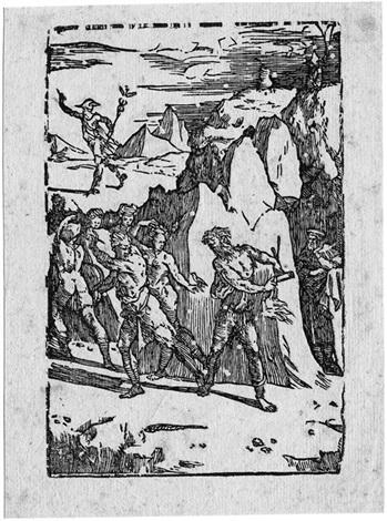 der alchemist begleitet von vulkan schickt sich an die gottheiten aus dem felsen zu befreien by domenico beccafumi