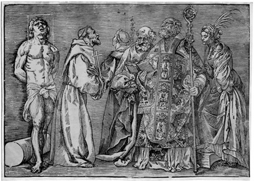 die sechs heiligen sebastian franziskus antonius petrus nikolaus und katharina after titian by niccolo boldrini
