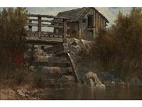 the old bridge; fontenay aux roses, near paris (two) by edwin deakin