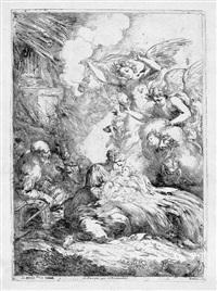 die geburt christi mit engeln by bartolomeo biscaino