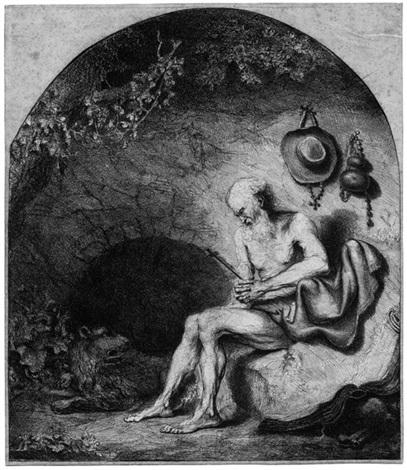 der heilige hieronymus in der höhle by ferdinand bol