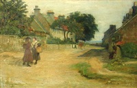figures on a village street by george ogilvy reid