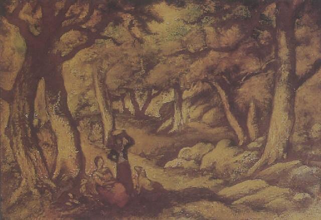 figures in a landscape by lorser feitelson
