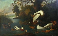 an extensive landscape with ducks on a pond by robert griffier