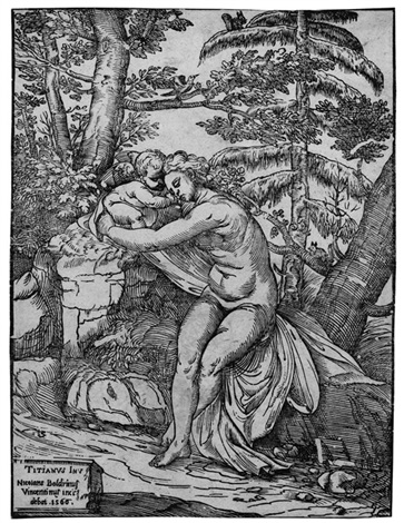 venus und amor in einer landschaft after tizian by niccolo boldrini