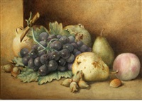 a still life with pears and grapes by agnes holding
