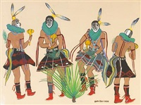 yei dancers (+ another, smllr; 2 works) by narciso platero (ha so deh) abeyta