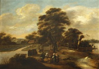a landscape with a group of figures resting by a track by klaes molenaer