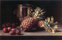 a still life with pineapples, plums and a copper pot by william hubacek