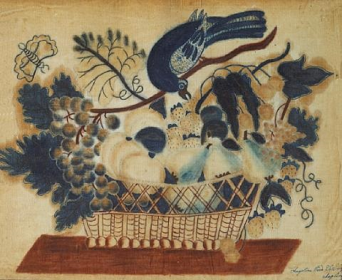 basket of flowers and bird by angelina wood tattinger