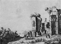 italienische landschaft mit antiken ruinen by laurens baratta
