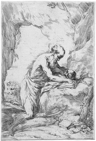 der hl hieronymus in der einöde after guido reni by bartolomeo biscaino