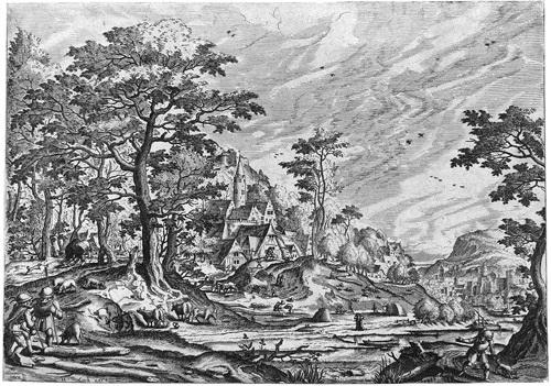 landschaft mit einem dorf und wagen mit zwei pferden landschaft mit einem schloss hinter hütten links zwei schäfer 2 works by hans bol