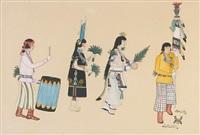 untitled (pueblo figures in a ceremonial) by tonita pena