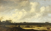 an extensive landscape with figures, with a view thought to be of leiden in the distance by anthony jansz van der croos