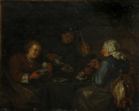 an interior with women seated at a table drinking tea by egbert van heemskerck the younger