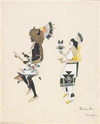 buffalo dancers (+ pueblo dancer, smllr; 2 works) by tonita pena