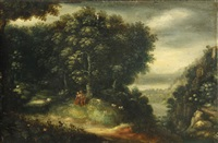 a wooded landscape with two figures and sheep grazing by flemish school (18)