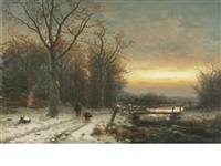 a winter landscape at sunset by b. kreutzer