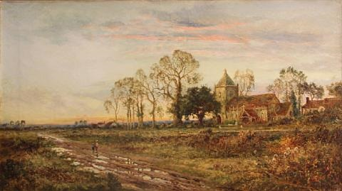 A View Of Country Church At Sunset By Daniel Sherrin