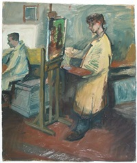 a painter standing behind his easel by jaap hillenius
