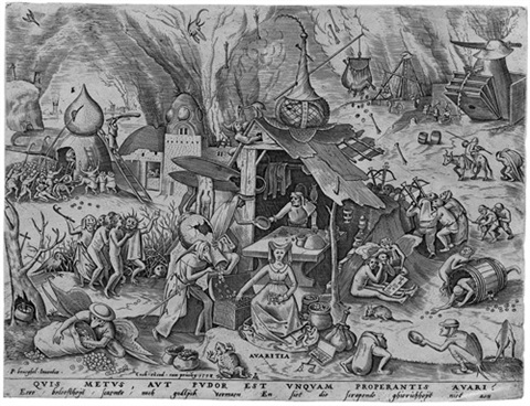 avaritia pl 4 from todsünden engraved by pieter van der heyden by pieter brueghel the elder