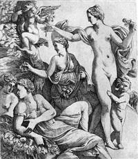 die drei grazien und putten überreichen venus früchte und blumen by pierre biard the younger