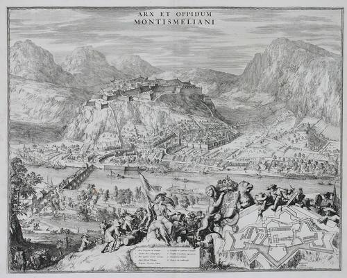 arx et oppidum montismeliani blick auf stadt und festung montmélian mit kartusche und legende by romeyn de hooghe