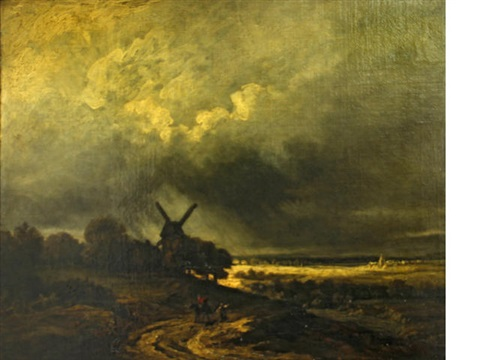 a landscape with a windmill and figures on a track in the foreground by georges michel