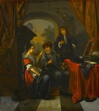 figures in an interior by bernardus van schendel