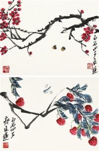 荔枝蜻蜓 梅花蜜蜂 (2 works) by qi liangchi